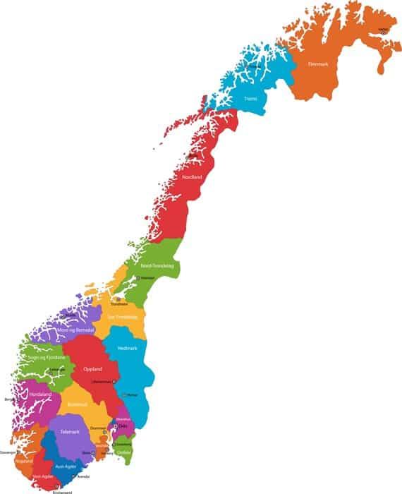 Norway Regions Map