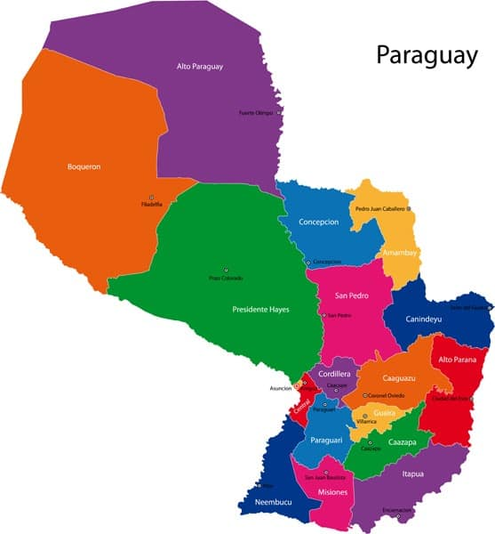 Paraguay Regions Map