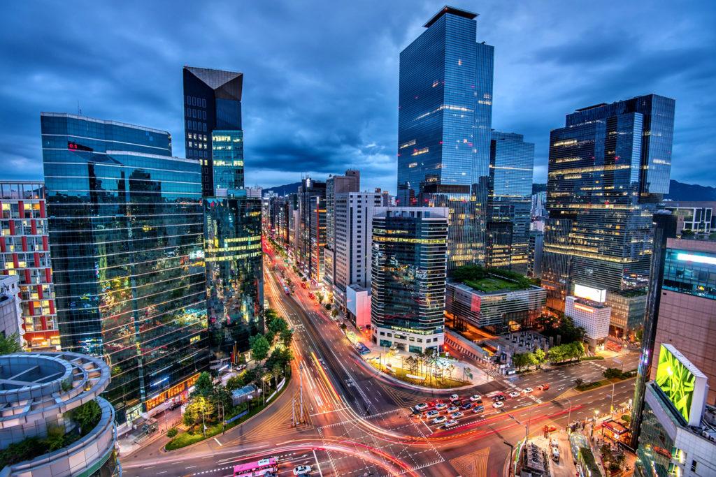 View of Downtown Gangnam Square Seoul, South Korea