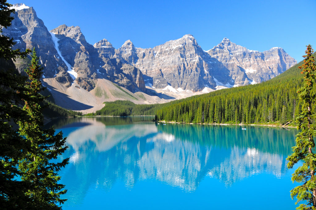 Pristine waters of Lake Moraine in Alberta